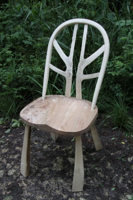 Slab & Stick chair cherry wood Uk green woodworking