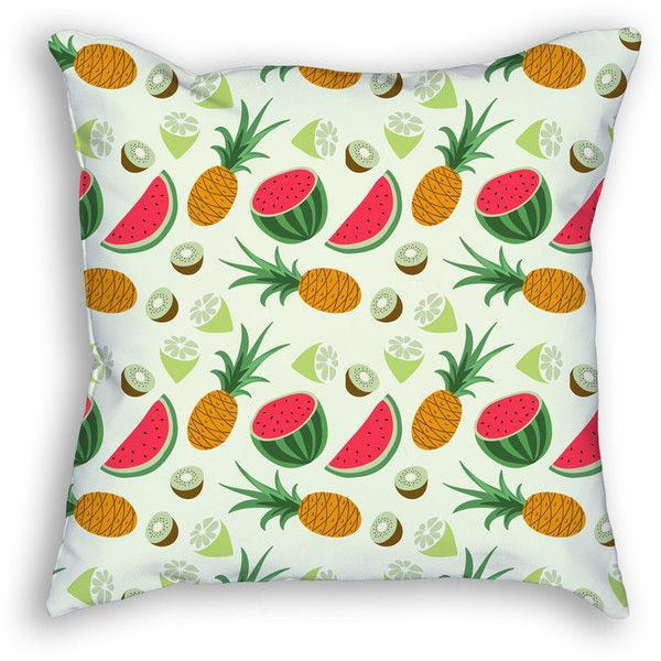 Tropical Fruits Throw Pillow, Pineapple Watermelon Kiwi Decorative... ($29) ❤ liked on Polyvore featuring home, home decor, throw pillows, fruit home decor, watermelon home decor, pineapple home accessories, pineapple home decor and pineapple throw pillow
