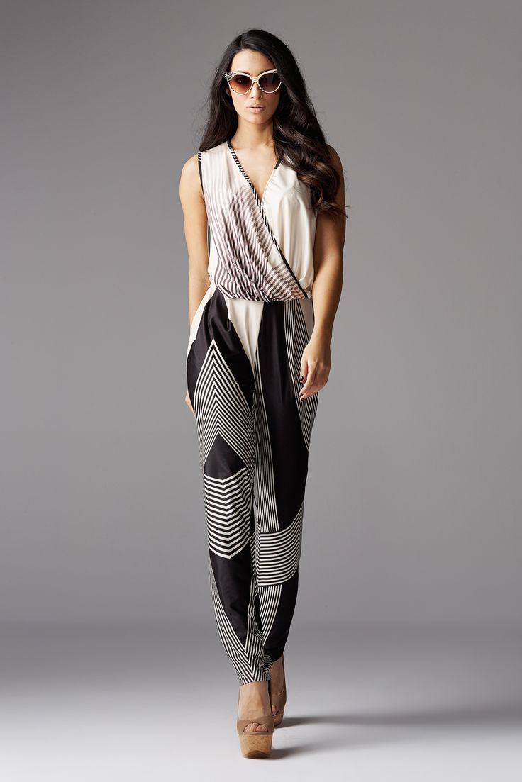Jumpsuit multi stripes with wrap top