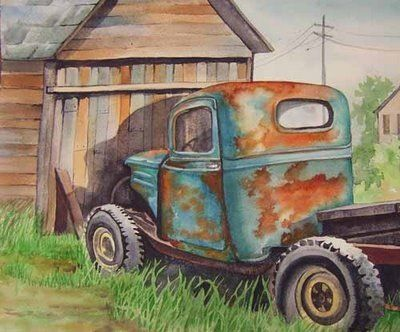 Old Rusty Truck Watercolor Art Car Painting Truck