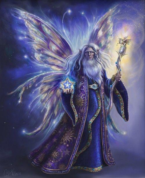 Fantasy Art Fairy Art Wizard Fairy Limited por CarolPhillipsArt