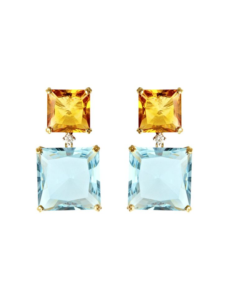 Kiki McDonough Topaz, citrine and diamond earings
