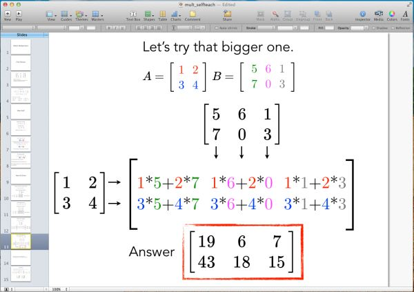 Color-coding numbers helpful in teaching multiplying matrices