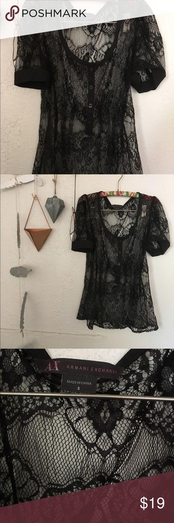 Armani Exchange Romantic Lace Blouse Like New,the lace is shiny!!! A/X Armani Exchange Tops Blouses