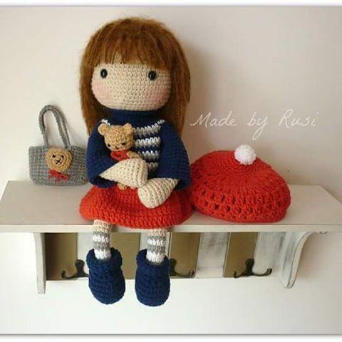 Crochet doll and little bear