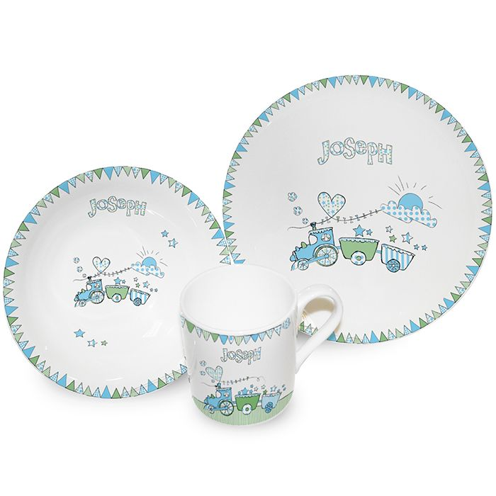 Personalised Train Bunting Breakfast Set from Personalised Gifts Shop - ONLY  sc 1 st  Pinterest : personalised baby plate set - Pezcame.Com