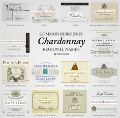 Common French Chardonnay names in Burgundy ~ tastes and styles