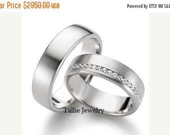 OP verkoop platina zijn en haar bijpassende ringen, Womens Wedding Rings, Platinum Diamond trouwringen, zijn en haar trouwringen, platina Matchin