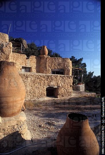 Terraces of the cottages,chimney-pots decoration  Valley of Aspros Potamos, Ierapetra, Crete, Greece