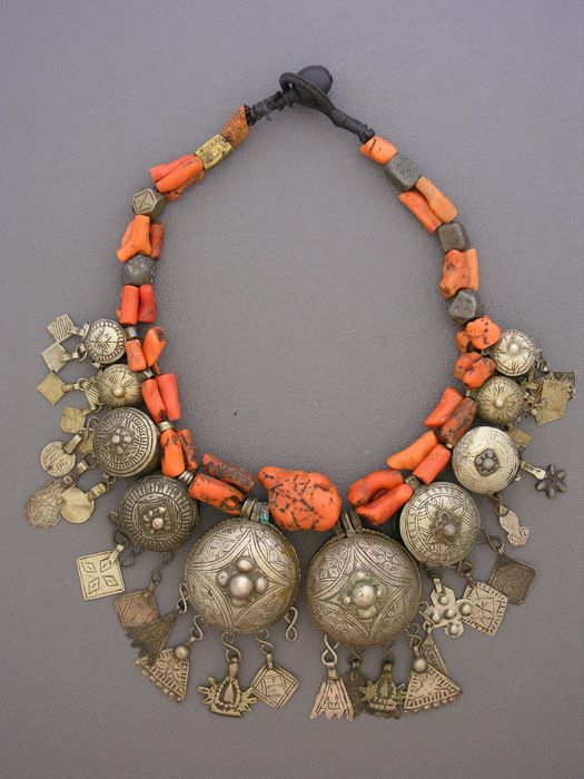 by Moroccan Designer Fouzi | ensemble of incredibly rare pendants. Individually, they are amazingly hard to find. A graduated set like this one - impossible. Yet here they are after years of collecting. Strung with incredible coral and small pendants and hamsas from the Draa, Dades, and Todhra Valleys of Morocco. | 4'295$