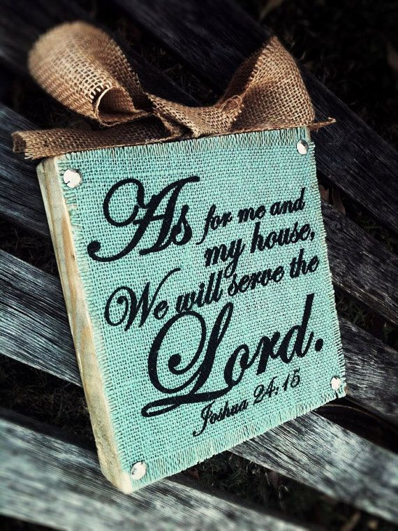 As For Me and My House Light Blue Burlap Wood by DesignsBySyds, $17.99