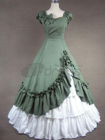 marine groen en wit katoen boog classic lolita jurk