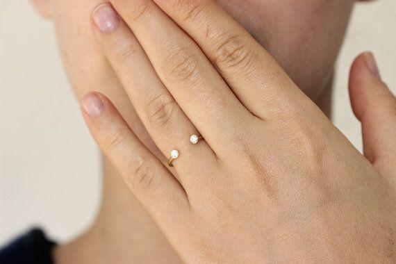 Pierre double bague bague de mariage diamant anneau par artemer