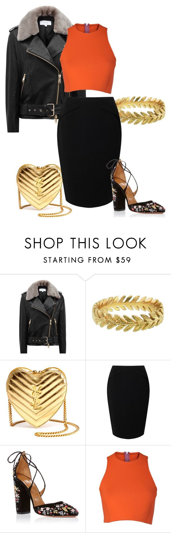 """""""Trending items"""" by grateful-angel ❤ liked on Polyvore featuring Reiss, Cathy Waterman, Yves Saint Laurent, Jacques Vert, Aquazzura and Sydney-Davies"""