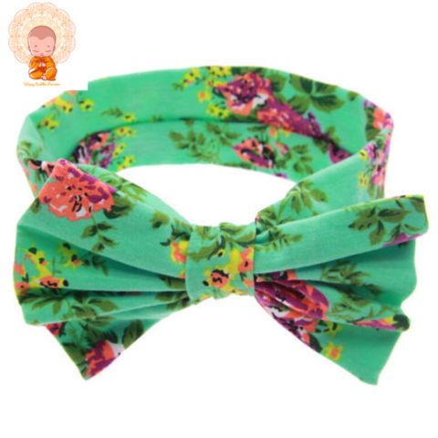 Baby Girl Floral Bow Tie Headband - Green