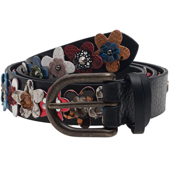 N.D.V. PROJECT Flower 3D Croco Black // Leather belt with flower trim (€159) ❤ liked on Polyvore featuring accessories, belts, leather belt, real leather belts, grain belt, crocodile belt and 100 leather belt