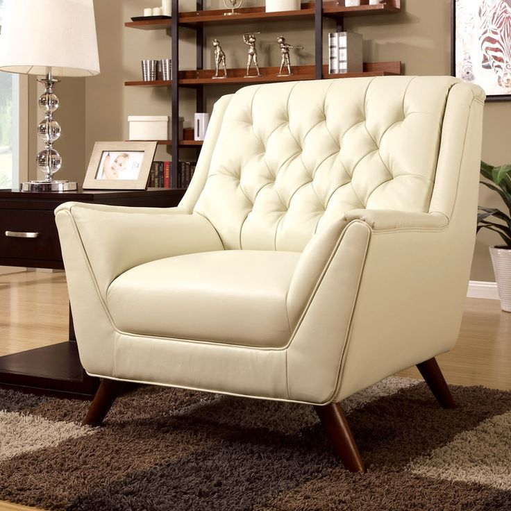 Furniture of America Valentino Mid-Century Modern Bonded Leather Club Chair | Overstock.com Shopping - The Best Deals on Living Room Chairs