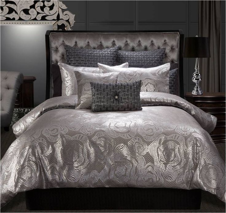 Chancellor 3 Pce Super King Size Quilt Doona Cover Set Metallic Silver Shimmer