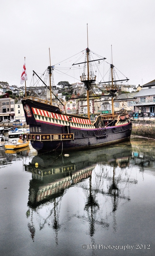 The Golden Hind, replica of galleon captained by Sir Francis Drake. Moored at Brixham, UK