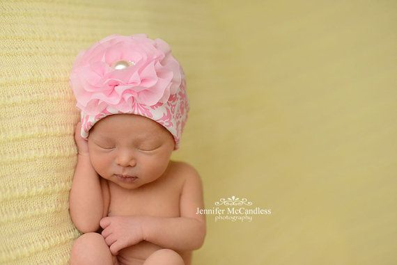 Pink Damask Infant Baby Girl Beanie Hat with by MyLolliflopsLLC, $12.00