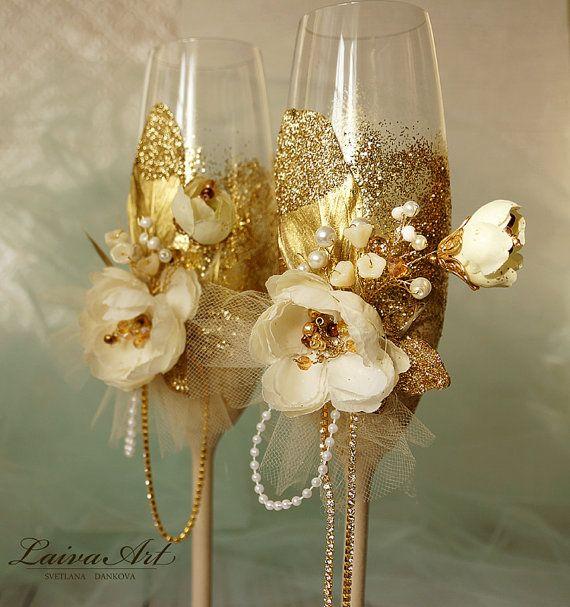 Bodas de oro y marfil Champagne flautas tostado flautas boda