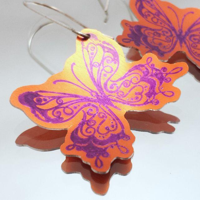 Butterfly Earrings in Orange and Purple Anodised Aluminium £9.95