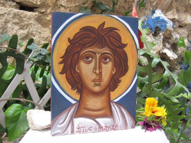 St Mamas (Mammes) with his hair looking like a lion's mane- a study of amedieval fresco of the 11th century that looked so fresh and contemporary to my eyes-The prototype is found on the Church of Agia Varvara, in Latziana village of Kissamos Chania