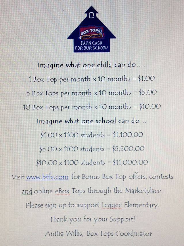 Pin by Loraine Patterson on Box tops for education Pta