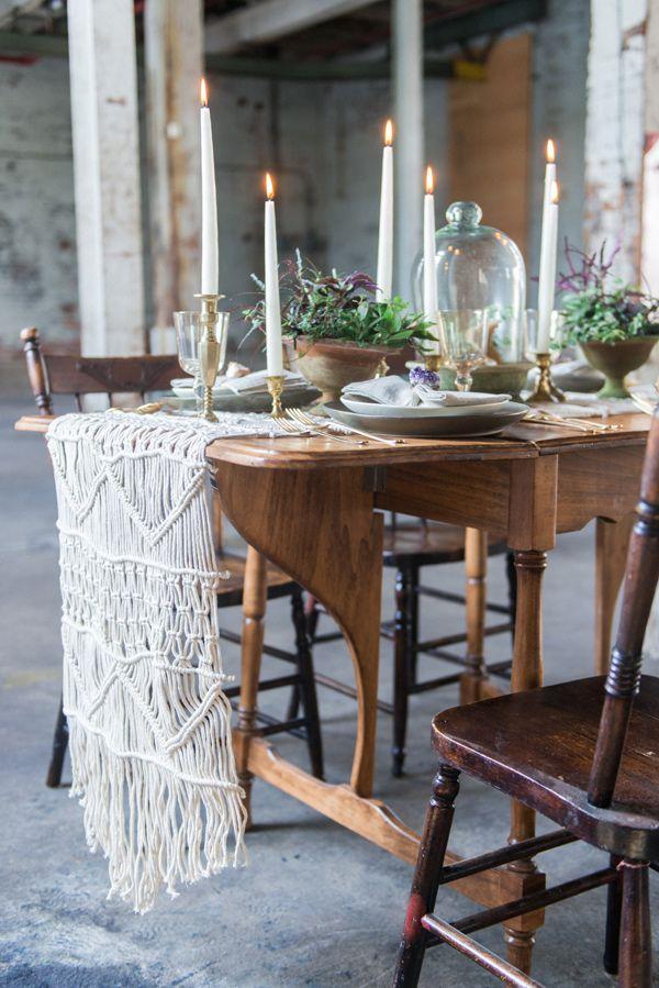 macrame table runner - photo by Laura Kelly Photography http://ruffledblog.com/industrial-bohemian-geode-wedding