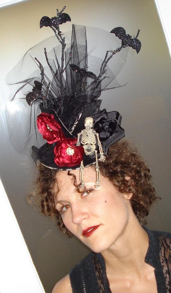 Gothic Garden day of the dead top hat by woodandwaterdesigns, $95.00