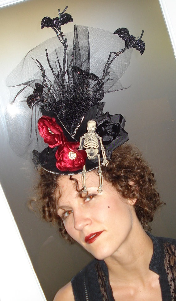 Gothic Garden day of the dead top hat by woodandwaterdesigns, $95.00