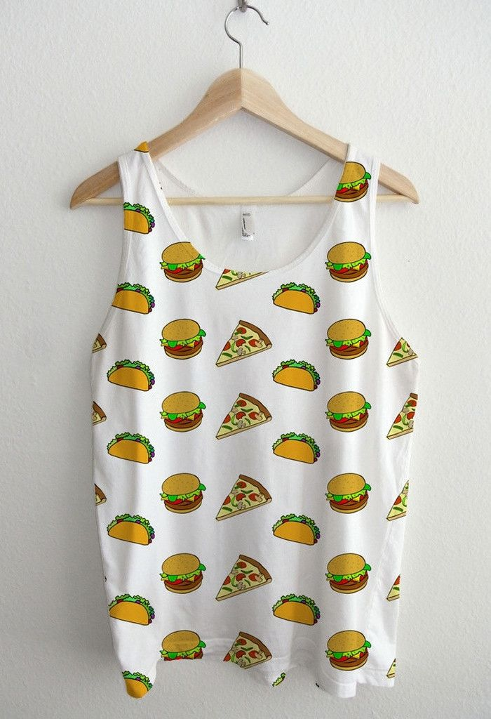 Pizza Taco Cheeseburger Cartoon Pattern All Over Print Unisex Tank Top