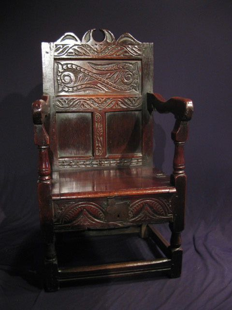 A Mid 17th Century Lancashire Cheshire Oak Box Seated