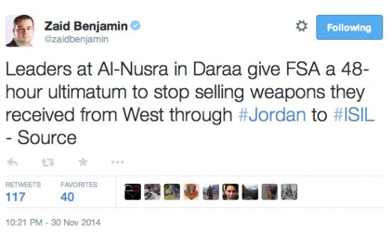 Al Nusra Front Demands Syrian Rebels Stop Selling Weapons They Received From America/West To ISIS…  -------------------------------------------------- EVERYONE knows 0bama/holder/jarrett are funding our enemies (except liberals--maybe they don't care?)