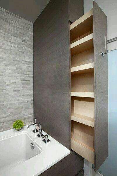 Superbe idée pour la salle de bain, & quel gain de place !!!