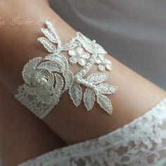 Açık bej, gelin jartiyer düğün jartiyer el yapımı dantel