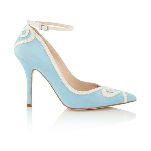 'Ana Blue' is a unique pale blue & ivory vintage inspired wedding shoe by  UK designer Charlotte Mills; heart detail ankle strap, pointed toe, read  more.