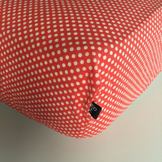 FITTED CRIB SHEET  Red with White Mini Polka Dots  by Beakyriboo