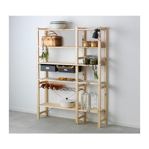 IKEA - IVAR, 2 sections w/shelves & drawers, Untreated solid pine is a durable natural material that can be painted, oiled or stained according to preference.You can move shelves and adapt spacing to suit your needs.
