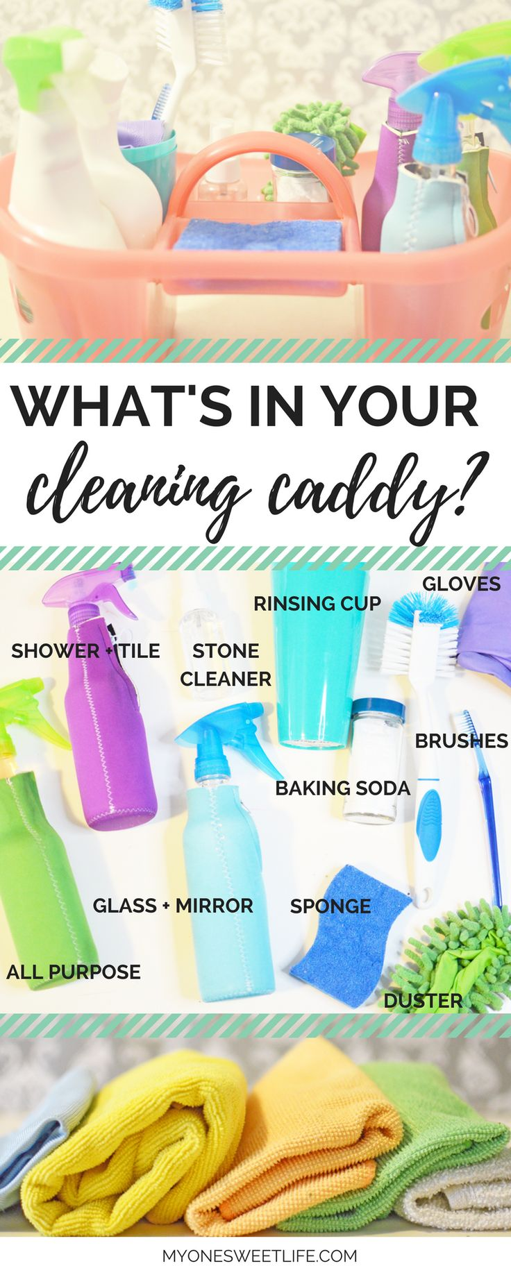 Create a simple cleaning caddy to keep you organized and on top of the cleaning duties in your house. Quick and easy cleaning tips to help get you started!