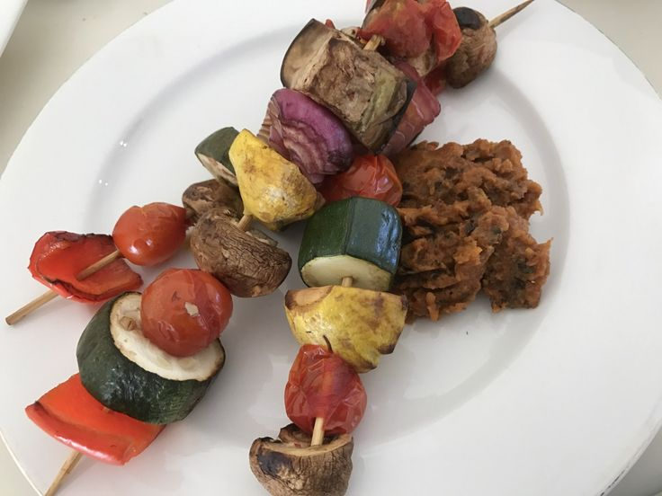 Opti-KebabsMakes: 8 kebabsIngredients:8 cherry tomatoes 1 small red onion1 small zucchini1 small red capsicum 1/2 small eggplant 4 small button squash (summer squash)4 mushrooms 2 cloves garlic 1 t…