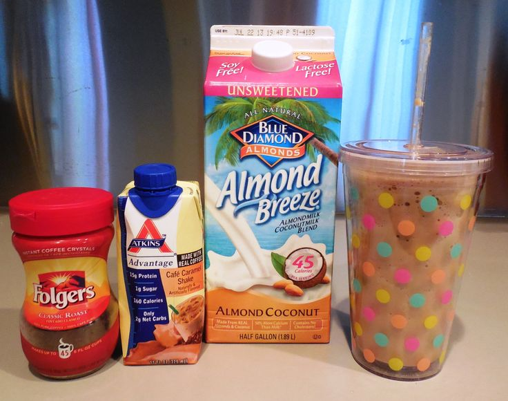 1/2 Cup Unsweetened Almond Coconut Milk 1/2 Atkins Shake (any flavor) 1 TSP Instant Coffee 10 Ice Cubes