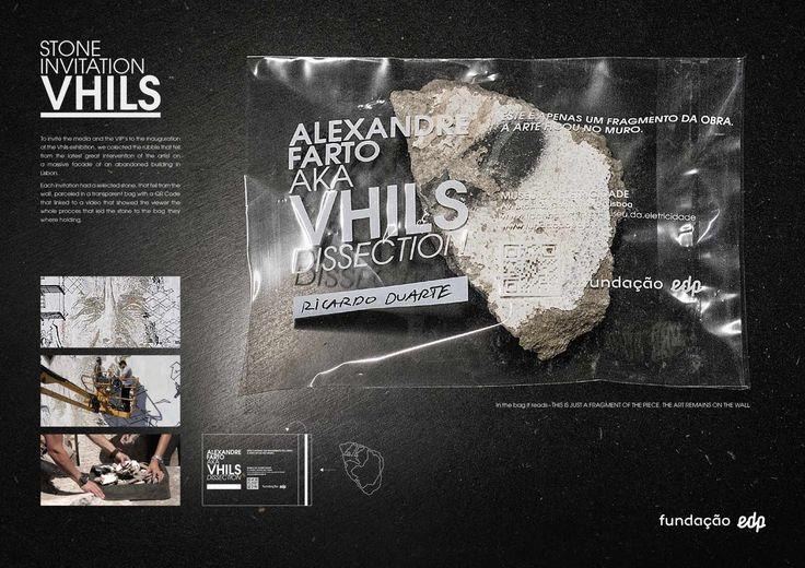 Vhils Exhibition: Stone invitation