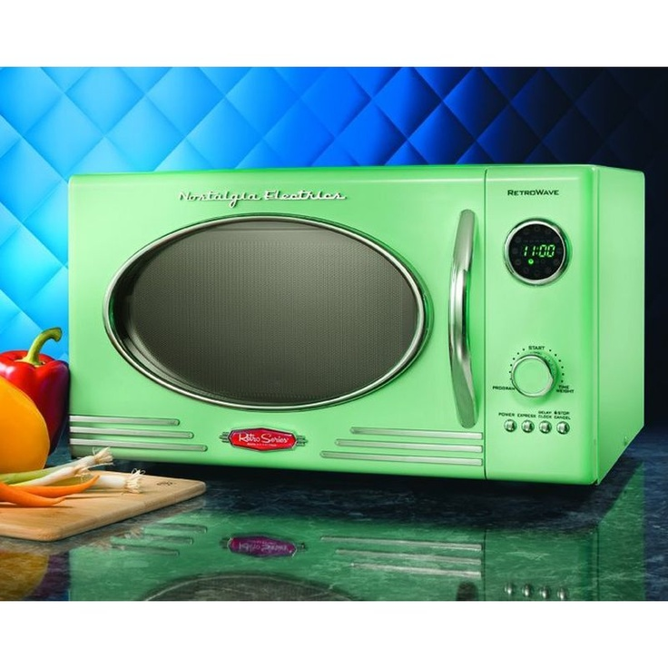Compact Green Countertop Retro Series Microwave 800 Watt College Vintage Oven And