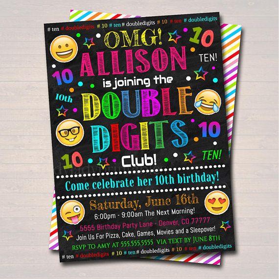 Editable Double Digits Club Party Birthday Invitation 10th Birthday Emoji Girl Tween Invite Birthday Digital Sleepover Instant Download In 2021 Emoji Birthday Birthday Party Invitations 10th Birthday