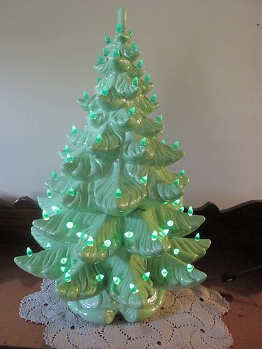 """Vintage Ceramic Lighted Christmas Tree 24"""" Atlantic Mold AG48 Unique Color"""