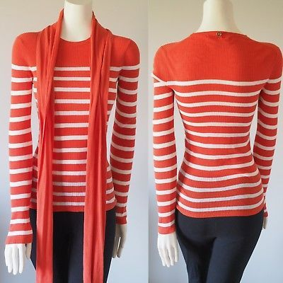 Michael-Kors-Long-Sleeve-Crewneck-Striped-Knit-Sweater-Cotton-With-Scarf-Size-S