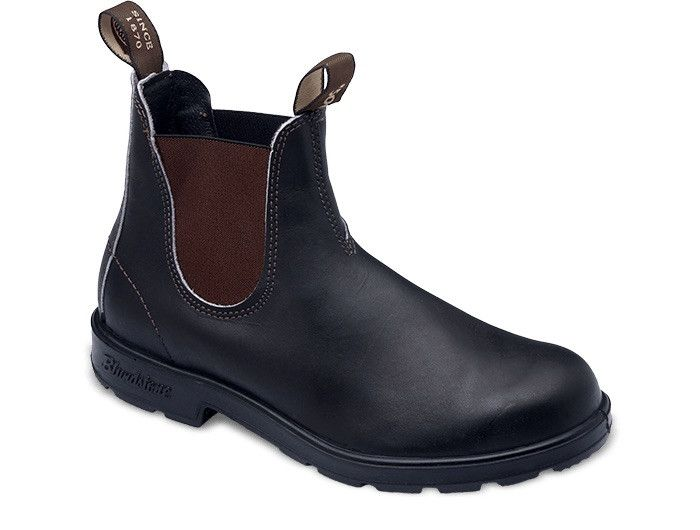 Stout Brown premium leather elastic sided boot. V cut upper reduces stitching exposure. Strobel slip lasted construction. PORON® XRD™ in the heel strike zone for increased shock protection. Fully remo