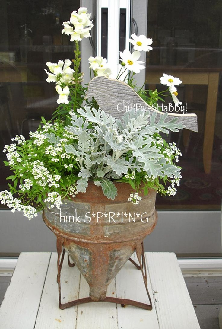 ChiPPy! - SHaBBy!: Re-Purposed Funnel Planter w/BiRd...