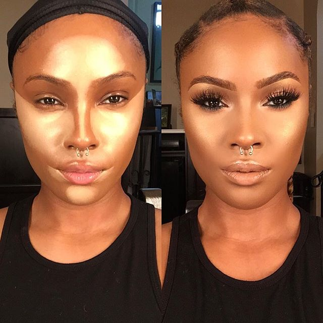 Pinterest: @ TheUrbanSweety  Before and after using @anastasiabeverlyhills contour cream kit (medium) ✨ follow me on the snap tho - yarisitzel CORNROWS not boxer braids BIH--- done by @myssberri